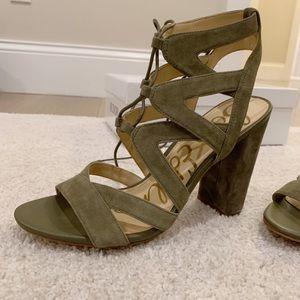Sam Edelman Shoes - Sam Edelman Lace-up Block Heel Sandal Olive 7.5